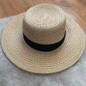 H&M women's wide brim straw hat size large